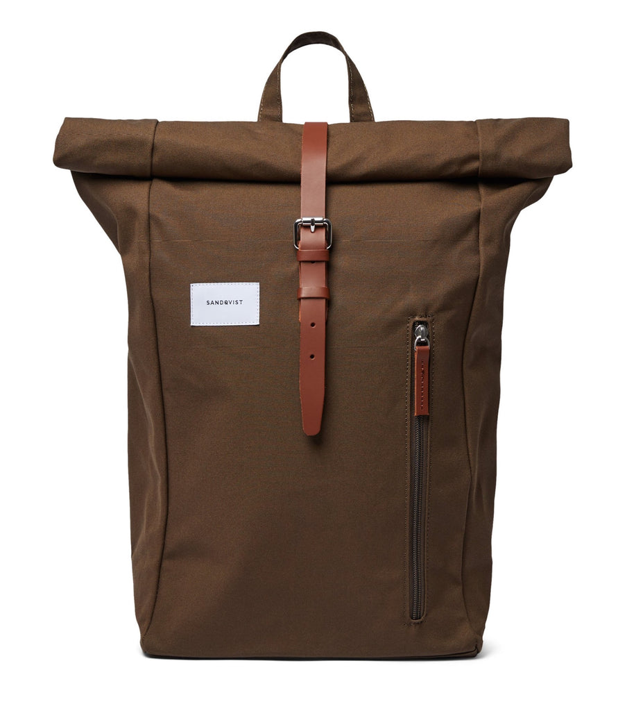 SANDQVIST Dante Olive Cognac Brown Backpack