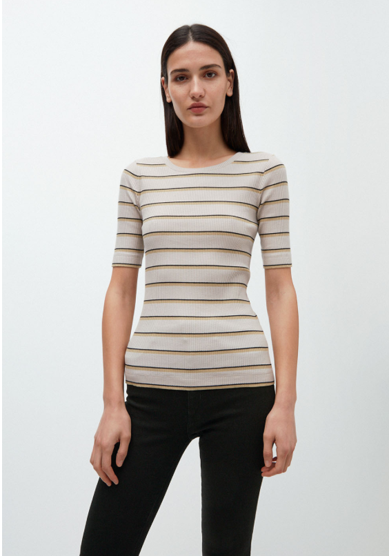 ARMEDANGELS Elsaa rib stripe top kitt birch leaf