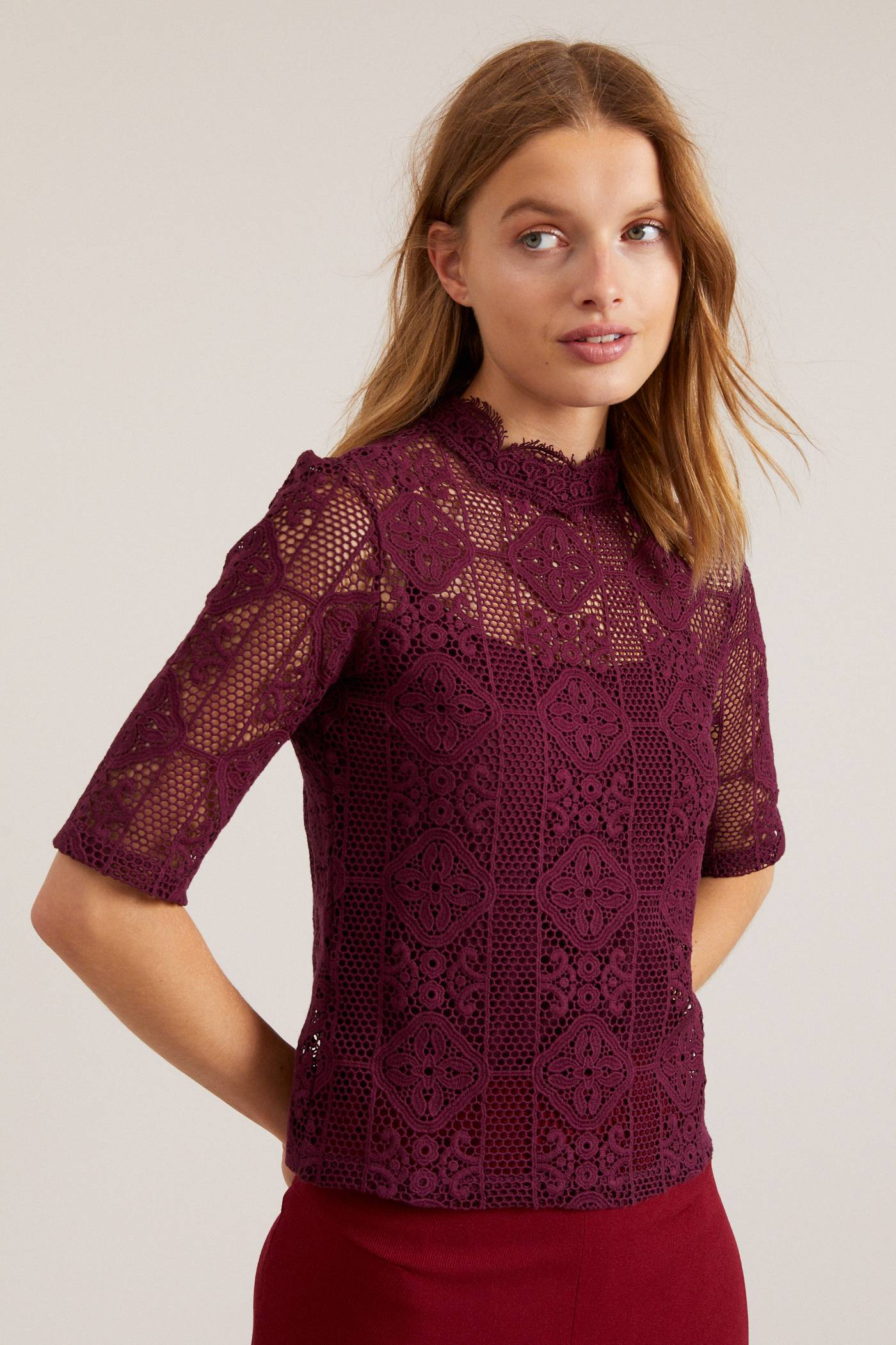 LANIUS Lace blouse cassis