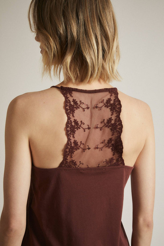 LANIUS Lace Top bitter chocolate 12256