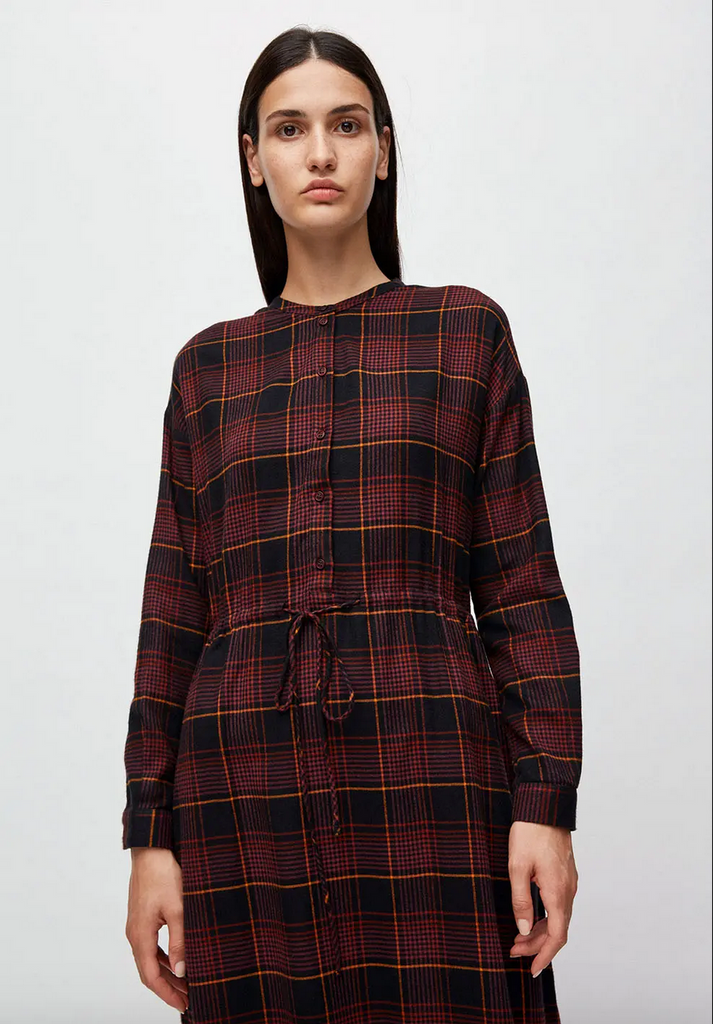 ARMEDANGELS Vaalborg Winter check dress port wine