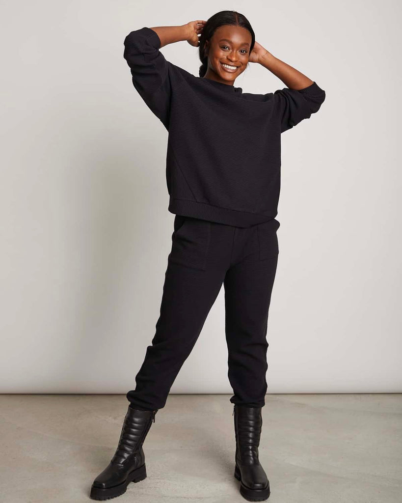 JAN 'N JUNE Tao Lounge pants rib black