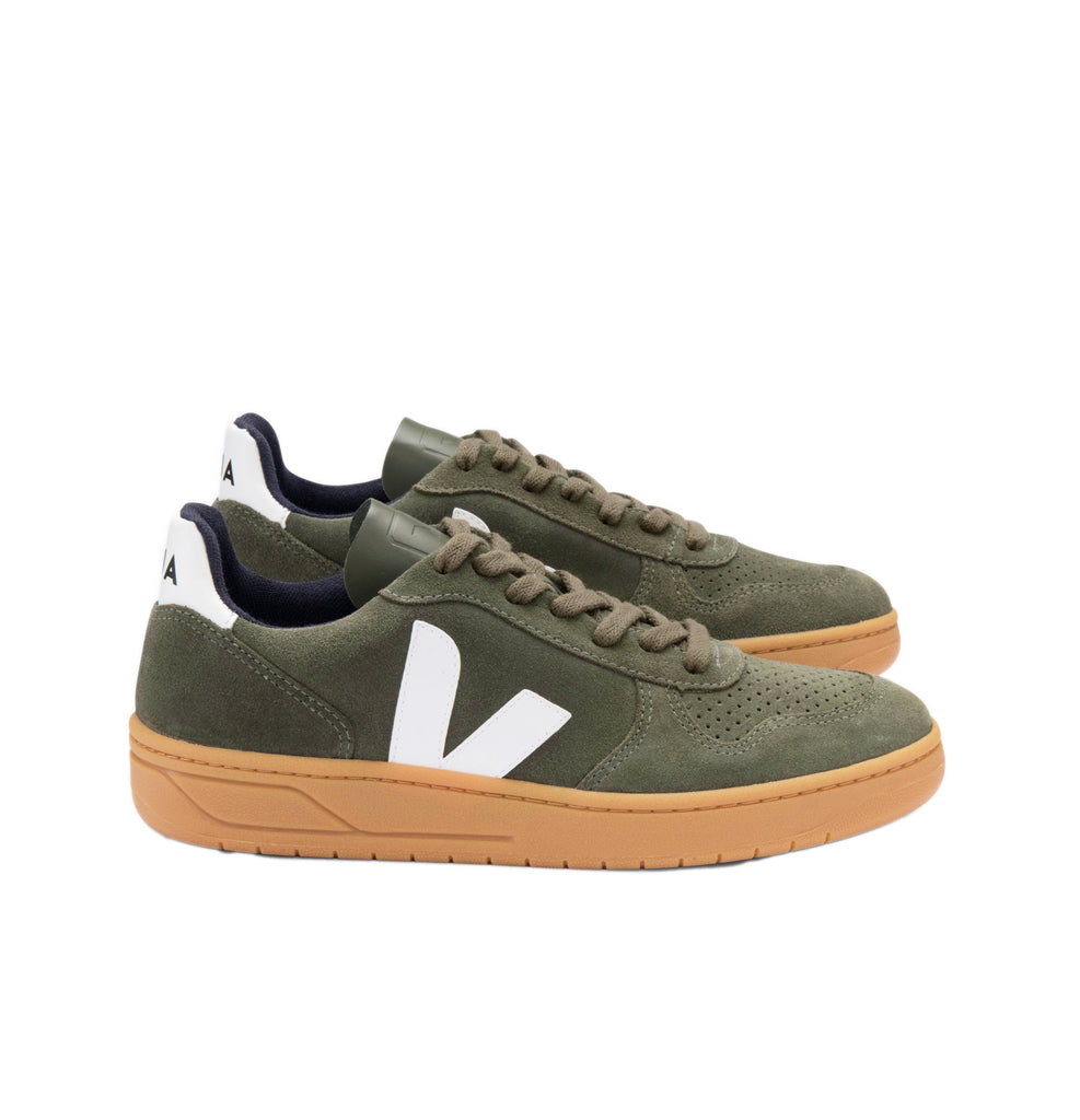 VEJA V-10 Suede Mud White Gum Sole Women