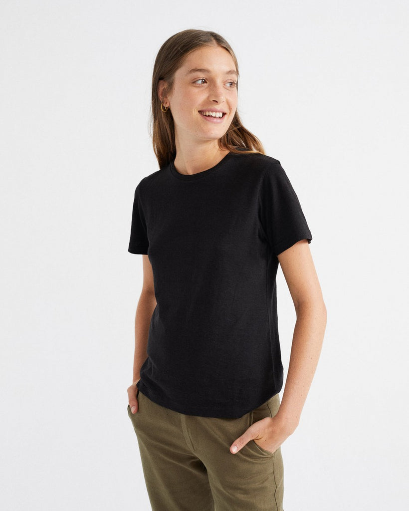 THINKING MU Juno Hemp black T-shirt Women