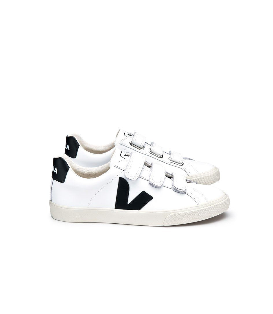 VEJA Esplar Leather 3 Lock White Black women