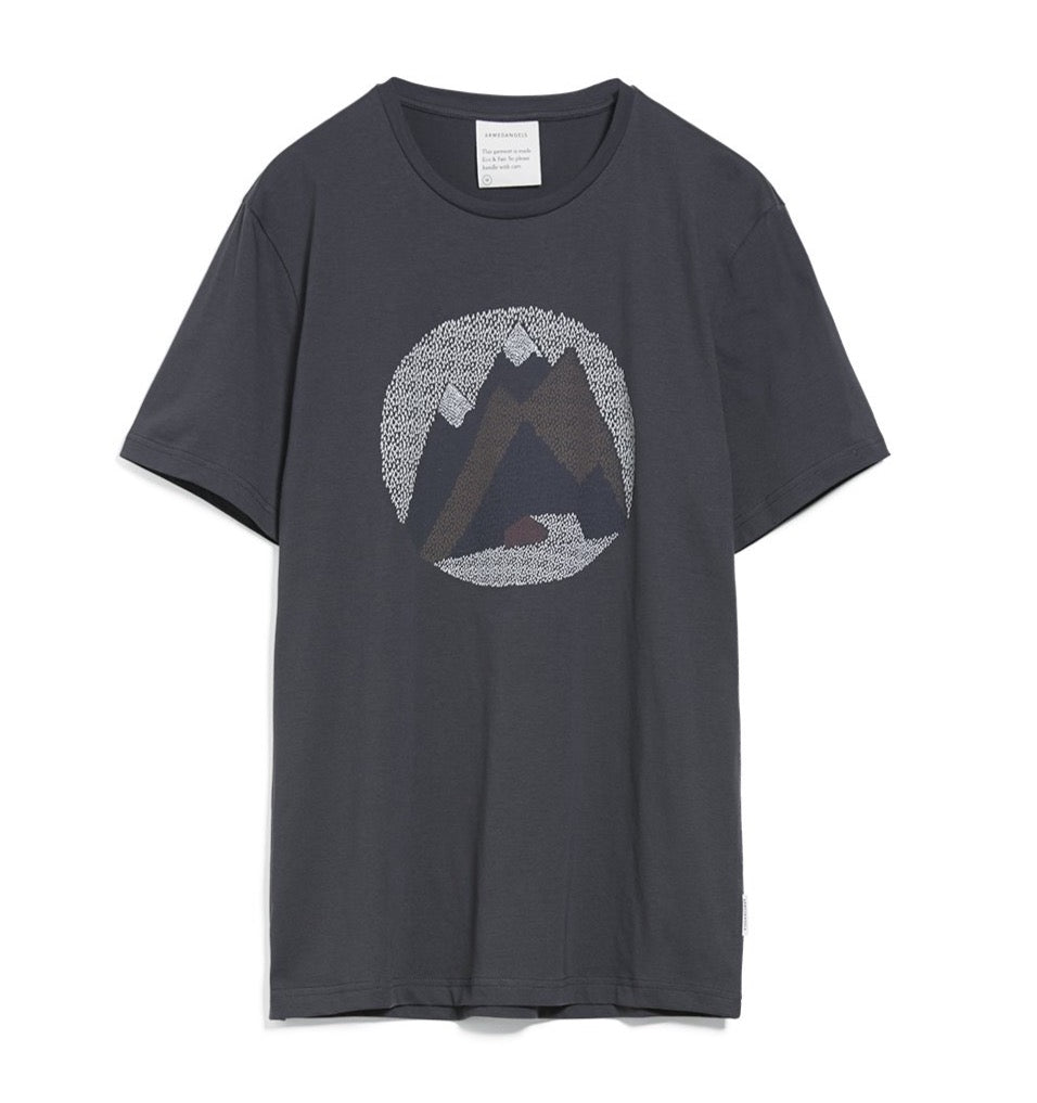 ARMEDANGELS Jaames Graphic mountain T-shirt acid black