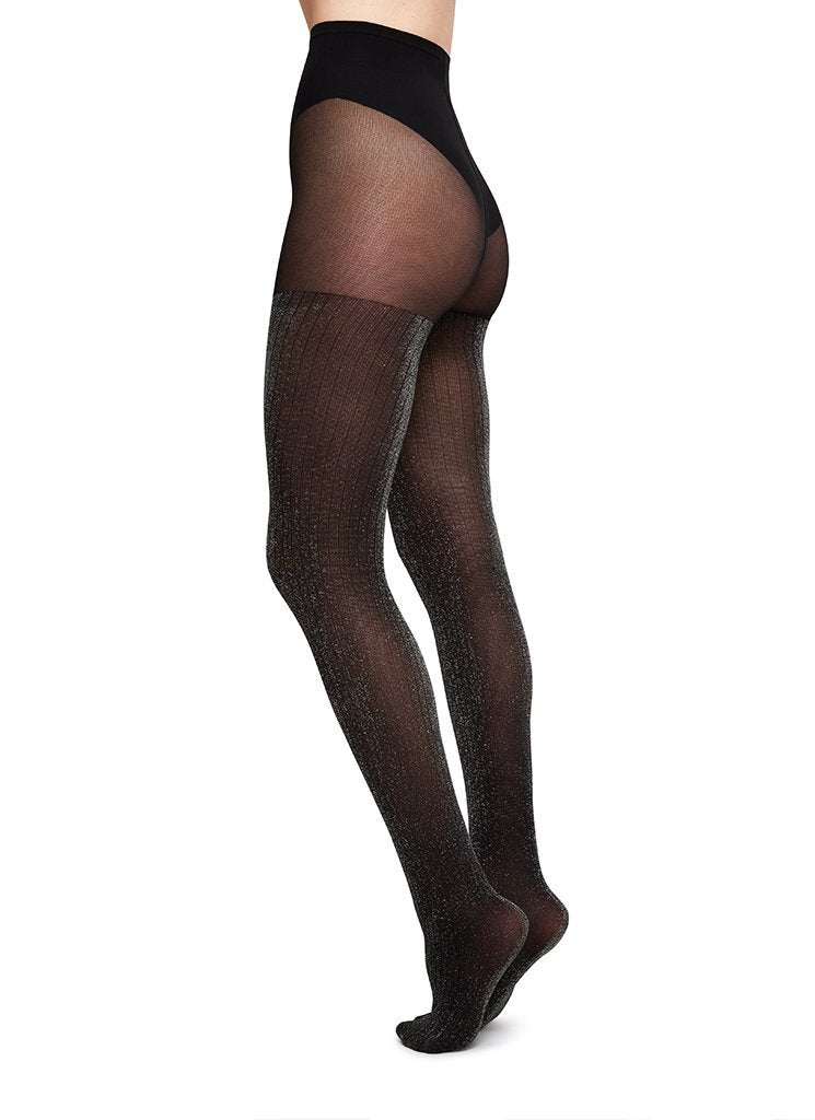 Swedish Stockings Lisa Rib Lurex Silver Black