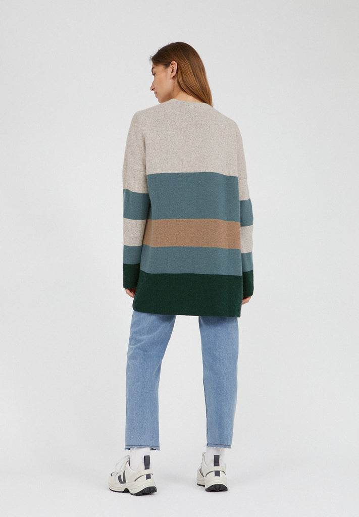 ARMEDANGELS Maayumi cardigan block stripe deep lake soft moss