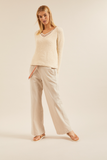 LANIUS Striped Marlene trousers sand 12413