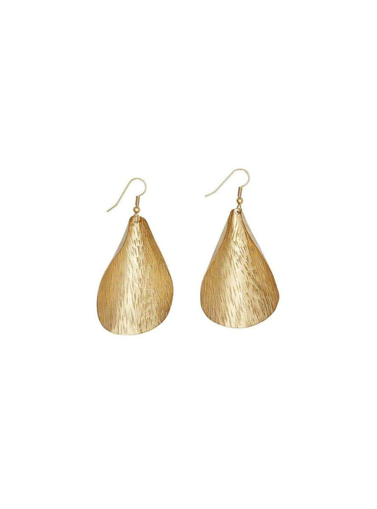 PEOPLE TREE Curled Leaf earrings brass