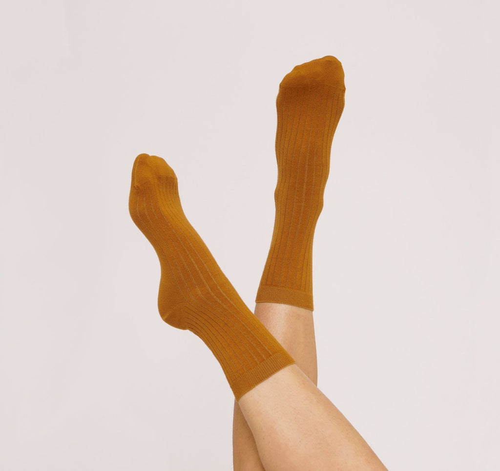 Organic Basics Organic Cotton Rib socks 2-pack Ochre