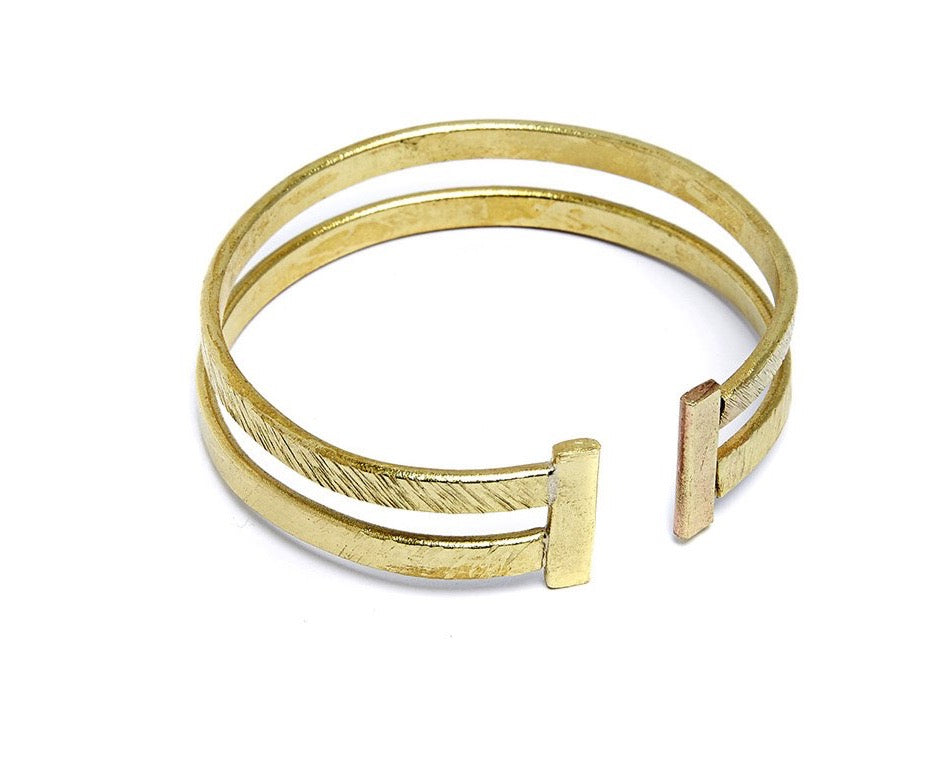 PEOPLE TREE Textured double bangle Brass Y493UA
