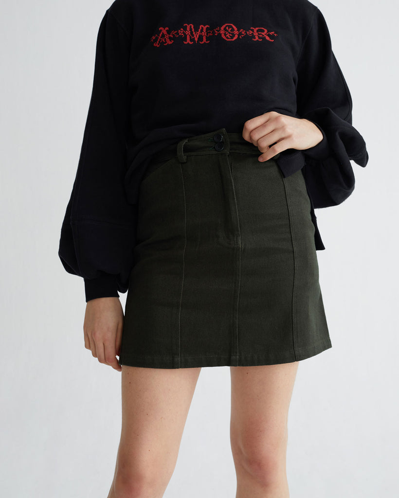 THINKING MU Green hemp Rhea skirt Women