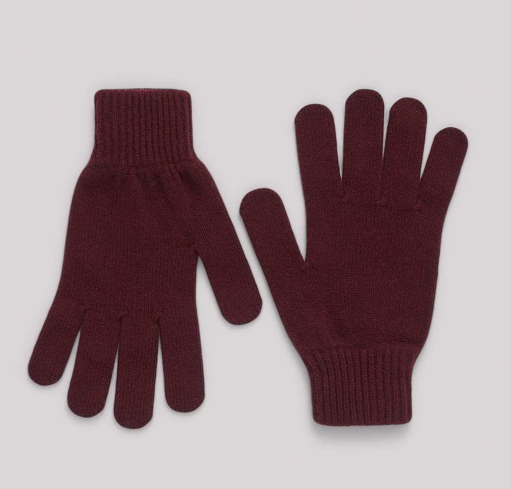 Organic Basics Recycled Cashmere gloves Burgundy small