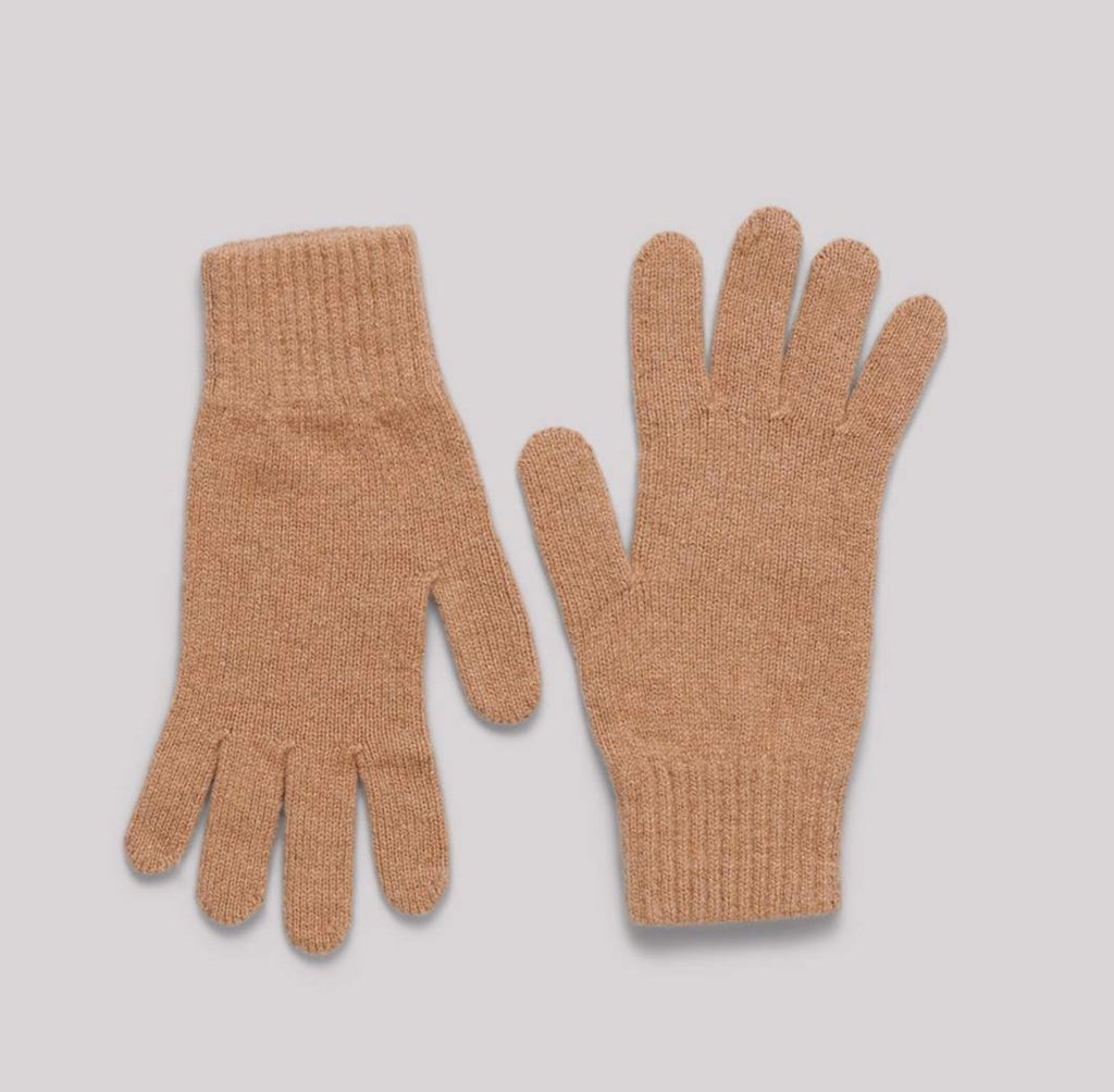 Organic Basics Recycled Cashmere gloves camel small