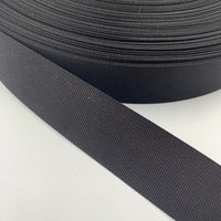"1"" Light Weight Nylon Grosgrain Tape - Black - By The Yard/36"""