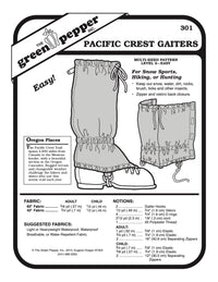 Pacific Crest Gaiters Pattern - 301 - The Green Pepper Patterns