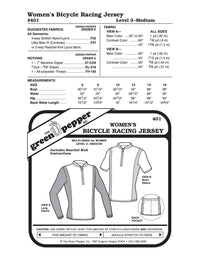 Women's Bicycle Racing Jersey Pattern - 401 - The Green Pepper Patterns