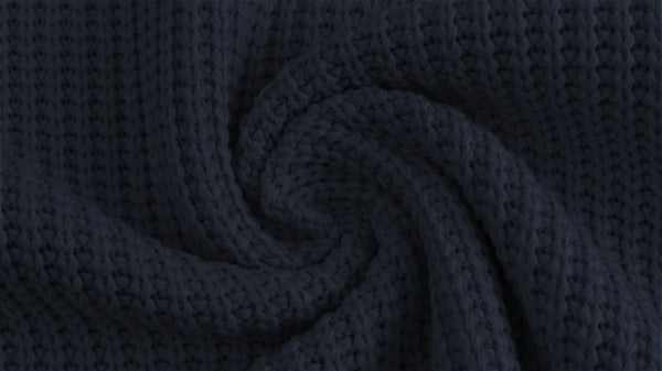 Cotton Cable Sweater Knit - Navy