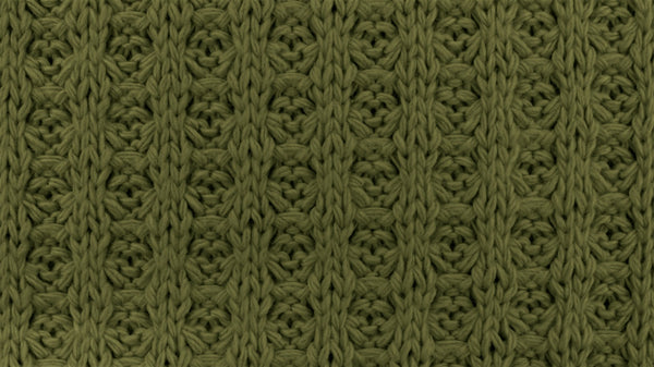 Cotton Waffle Sweater Knit - Army Green