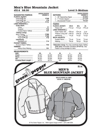 Men's Blue Mountain Jacket - 514 - The Green Pepper Patterns