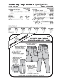 Adult's Sunset Bay Cargo Shorts & Zip Leg Pants Pattern - 524 - The Green Pepper Patterns