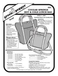 Cougar Springs Hot & Cold Lunch Bag Pattern - 561 - The Green Pepper Patterns