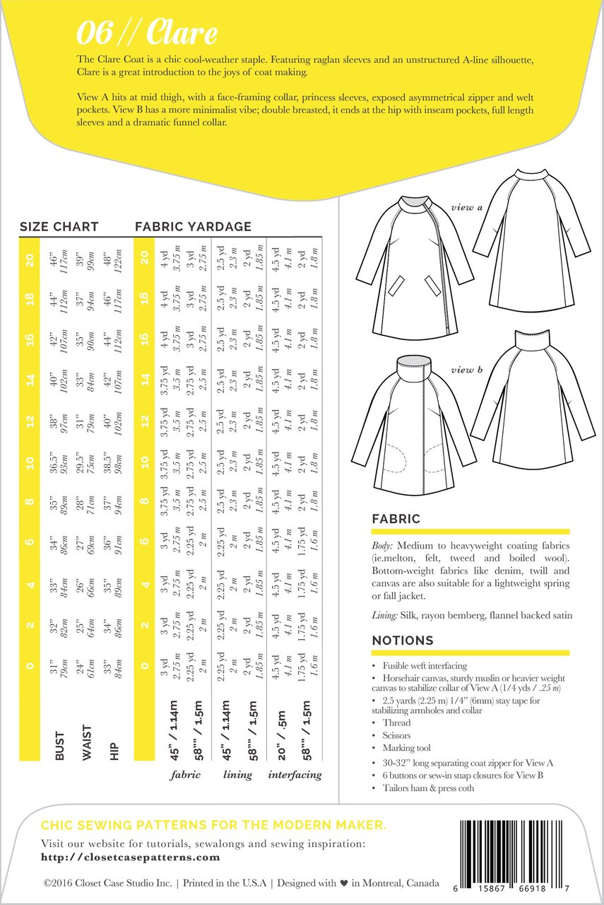 Clare Coat Pattern - Closet Case Patterns