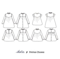 Louise Blouse & Dress Sewing Pattern - Girl 3/12Y - Ikatee