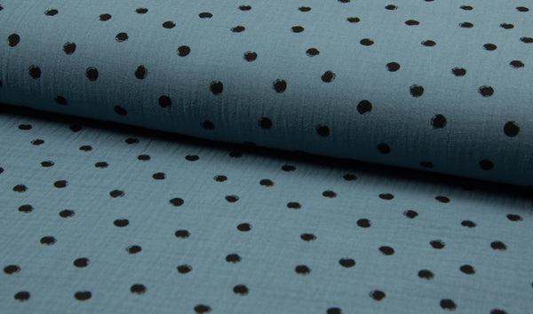 Double Gauze Muslin - Dots - Oeko-Tex® - Dusty Blue