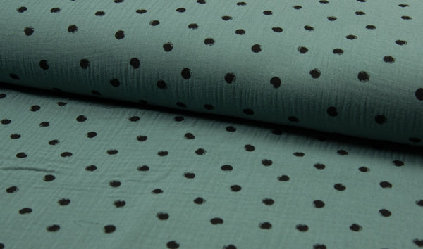 Double Gauze Muslin - Dots - Oeko-Tex® - Dusty Mint