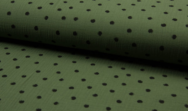 Double Gauze Muslin - Dots - Oeko-Tex® - Army Green