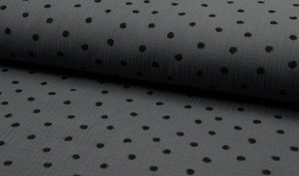 Double Gauze Muslin - Dots - Oeko-Tex® - Grey