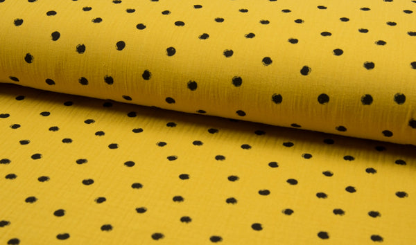Double Gauze Muslin - Dots - Oeko-Tex® - Curry