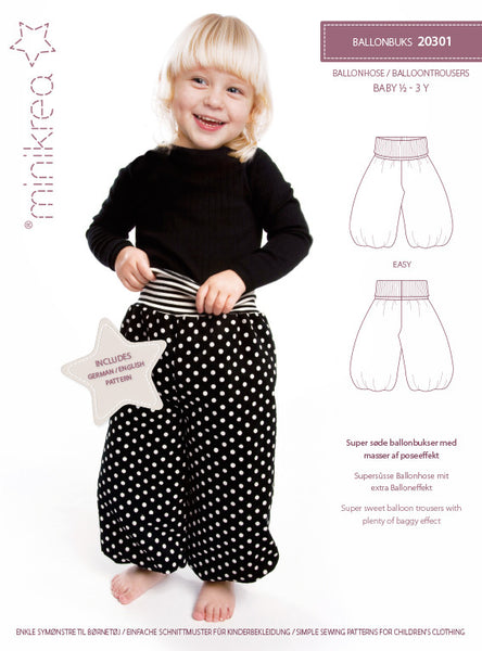 Balloon Pants - 20301 - Minikrea sewing pattern - 6mo-3yrs (4823.90.00.95)