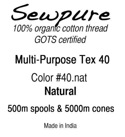Organic Cotton Thread - Sew Pure - Multi-Purpose TEX 40 - Cone (various colors)