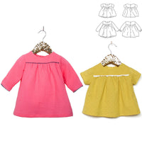 Oslo Blouse & Dress Sewing Pattern - Baby Girl 6M/4Y - Ikatee