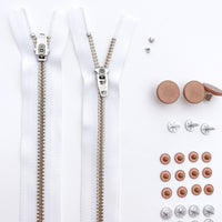 Jeans Hardware Kit - White Zipper / Copper Hardware - Kylie And The Machine