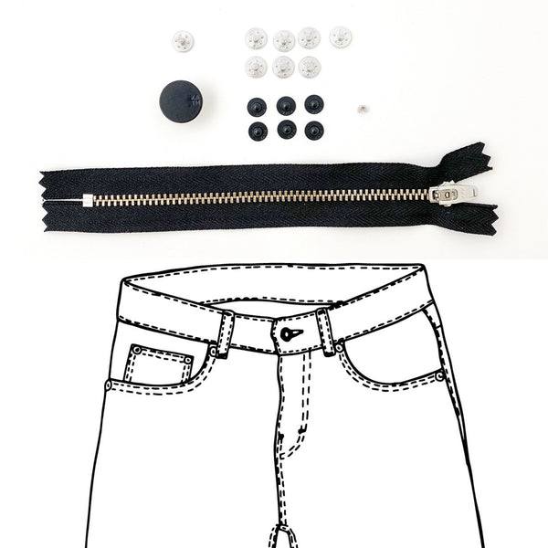 Jeans Hardware Kit - REFILL KIT -  Black Zipper / Matte Black Enamel Hardware - Kylie And The Machine