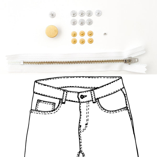 Jeans Hardware Kit - REFILL KIT -  White Zipper / Gold Hardware - Kylie And The Machine