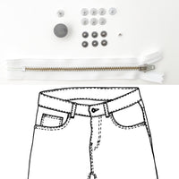 Jeans Hardware Kit - REFILL KIT -  White Zipper / Pewter Hardware - Kylie And The Machine