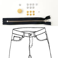 Jeans Hardware Kit - REFILL KIT -  Black Zipper / Gold Hardware - Kylie And The Machine