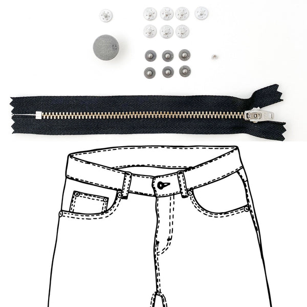 Jeans Hardware Kit - REFILL KIT -  Black Zipper / Pewter Hardware - Kylie And The Machine