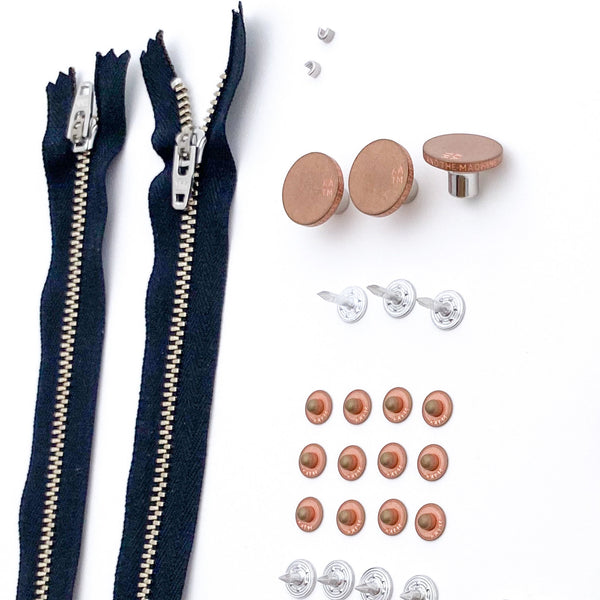 Jeans Hardware Kit - Black Zipper / Copper Hardware - Kylie And The Machine