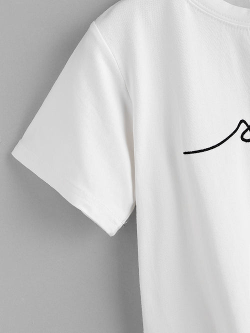 Letter Embroidered Tee