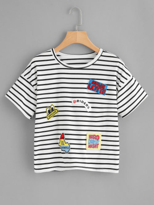 Black White Striped Embroidered Patch T-shirt