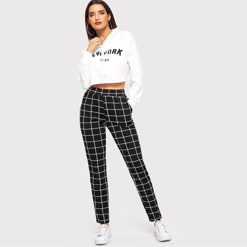 Black Plaid Mid Waist Skinny Carrot Trousers Autumn