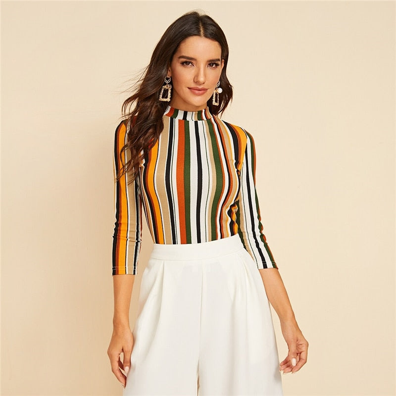 Multicolor Mock-neck Form Fitted Striped Top Slim T Shirt Women