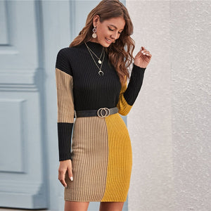 Color Block Rib-knit Bodycon Sweater Knitted Elegant Pencil Dresses