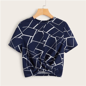 Twist Hem Cross Wrap Hem Geo Print Crop Top Women Summer Casual
